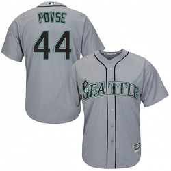 Max Povse Seattle Mariners Youth Replica Cool Base Road Majestic Jersey - Gray