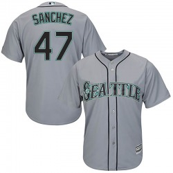 Ricardo Sanchez Seattle Mariners Youth Replica Majestic Cool Base Road Jersey - Gray