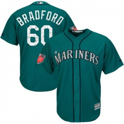 Chasen Bradford Seattle Mariners Men's Replica Cool Base 2018 Spring Training Majestic Jersey - Aqua