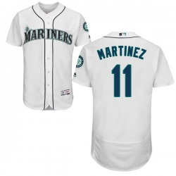 Edgar Martinez Seattle Mariners Youth Authentic Flex Base Home Collection Majestic Jersey - White