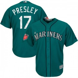 Jim Presley Seattle Mariners Men's Authentic Majestic Cool Base 2018 Spring Training Jersey - Aqua