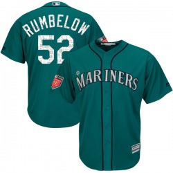 Nick Rumbelow Seattle Mariners Men's Authentic Cool Base 2018 Spring Training Majestic Jersey - Aqua