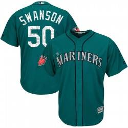 Erik Swanson Seattle Mariners Men's Authentic Majestic Cool Base 2018 Spring Training Jersey - Aqua