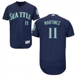 Edgar Martinez Seattle Mariners Men's Authentic Flex Base Alternate Collection Majestic Jersey - Navy