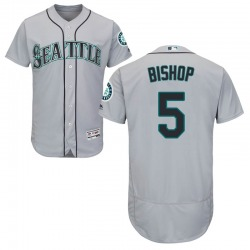 Braden Bishop Seattle Mariners Men's Authentic Majestic Flex Base Road Collection Jersey - Gray