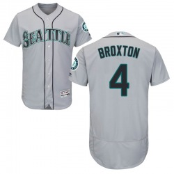 Keon Broxton Seattle Mariners Men's Authentic Majestic Flex Base Road Collection Jersey - Gray