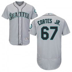 Nestor Cortes Jr. Seattle Mariners Men's Authentic Majestic Flex Base Road Collection Jersey - Gray