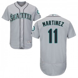 Edgar Martinez Seattle Mariners Men's Authentic Flex Base Road Collection Majestic Jersey - Gray