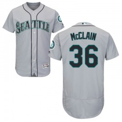 Reggie McClain Seattle Mariners Men's Authentic Majestic Flex Base Road Collection Jersey - Gray