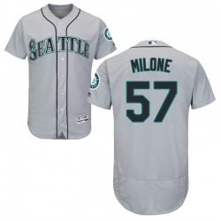 Tommy Milone Seattle Mariners Men's Authentic Majestic Flex Base Road Collection Jersey - Gray