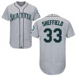 Justus Sheffield Seattle Mariners Men's Authentic Majestic Flex Base Road Collection Jersey - Gray