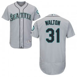 Donnie Walton Seattle Mariners Men's Authentic Majestic Flex Base Road Collection Jersey - Gray