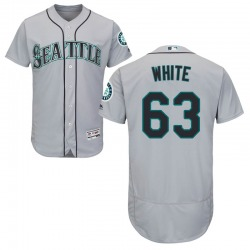 Evan White Seattle Mariners Men's Authentic Majestic Flex Base Gray Road Collection Jersey - White