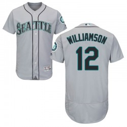 Mac Williamson Seattle Mariners Men's Authentic Majestic Flex Base Road Collection Jersey - Gray