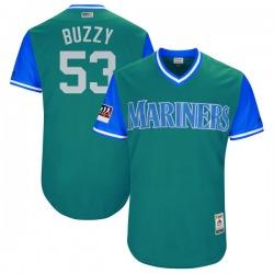 "Dan Altavilla Seattle Mariners Men's Authentic Majestic ""BUZZY"" Aqua/ 2018 Players' Weekend Flex Base Jersey - Light Blue"