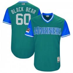 "Chasen Bradford Seattle Mariners Men's Authentic Majestic ""BLACK BEAR"" Aqua/ 2018 Players' Weekend Flex Base Jersey - Light Blue"