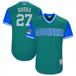 "Ryon Healy Seattle Mariners Youth Authentic Majestic ""BUBBA"" Aqua/ 2018 Players' Weekend Flex Base Jersey - Light Blue"