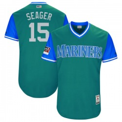 """Kyle Seager Seattle Mariners Men's Authentic Majestic """"SEAGER"""" Aqua/ 2018 Players' Weekend Flex Base Jersey - Light Blue"""
