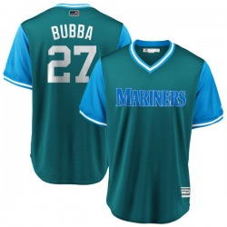 "Ryon Healy Seattle Mariners Men's Replica Majestic ""BUBBA"" Aqua/ 2018 Players' Weekend Cool Base Jersey - Light Blue"