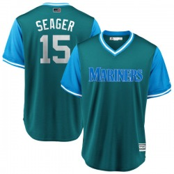 """Kyle Seager Seattle Mariners Youth Replica Majestic """"SEAGER"""" Aqua/ 2018 Players' Weekend Cool Base Jersey - Light Blue"""