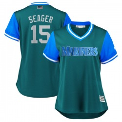 """Kyle Seager Seattle Mariners Women's Replica Majestic """"SEAGER"""" Aqua/ 2018 Players' Weekend Cool Base Jersey - Light Blue"""