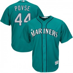 Max Povse Seattle Mariners Youth Replica Cool Base Alternate Majestic Jersey - Green