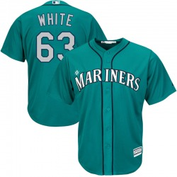 Evan White Seattle Mariners Youth Replica Majestic Cool Base Green Alternate Jersey - White