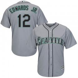 Carl Edwards Jr. Seattle Mariners Men's Replica Majestic Cool Base Road Jersey - Gray