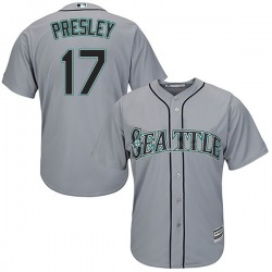 Jim Presley Seattle Mariners Men's Replica Majestic Cool Base Road Jersey - Gray