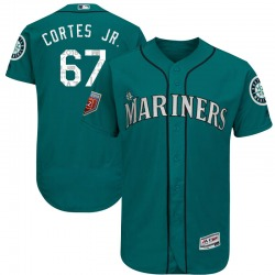 Nestor Cortes Jr. Seattle Mariners Youth Authentic Majestic Flex Base 2018 Spring Training Jersey - Aqua