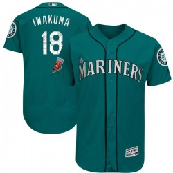 Hisashi Iwakuma Seattle Mariners Youth Authentic Flex Base 2018 Spring Training Majestic Jersey - Aqua