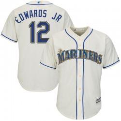 Carl Edwards Jr. Seattle Mariners Men's Replica Majestic Cool Base Alternate Jersey - Cream
