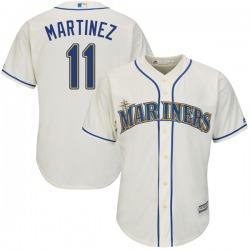 Edgar Martinez Seattle Mariners Men's Replica Cool Base Alternate Majestic Jersey - Cream