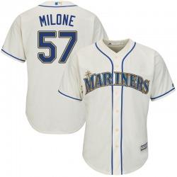 Tommy Milone Seattle Mariners Men's Replica Majestic Cool Base Alternate Jersey - Cream