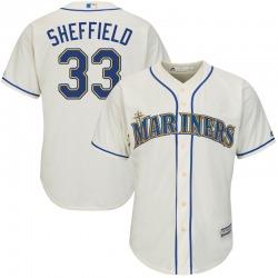 Justus Sheffield Seattle Mariners Men's Replica Majestic Cool Base Alternate Jersey - Cream
