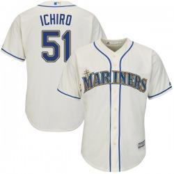 Ichiro Suzuki Seattle Mariners Men's Replica Cool Base Alternate Majestic Jersey - Cream