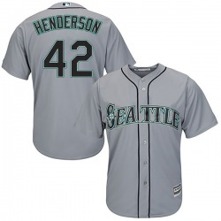 Dave Henderson Seattle Mariners Youth Authentic Majestic Cool Base Road Jersey - Gray