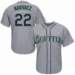 Omar Narvaez Seattle Mariners Youth Authentic Majestic Cool Base Road Jersey - Gray