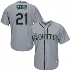 David Segui Seattle Mariners Youth Authentic Majestic Cool Base Road Jersey - Gray