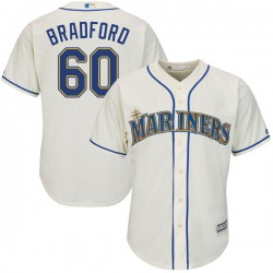 Chasen Bradford Seattle Mariners Youth Authentic Cool Base Alternate Majestic Jersey - Cream