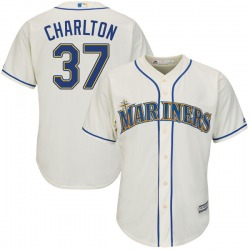 Norm Charlton Seattle Mariners Youth Authentic Majestic Cool Base Alternate Jersey - Cream