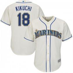 Yusei Kikuchi Seattle Mariners Youth Authentic Majestic Cool Base Alternate Jersey - Cream