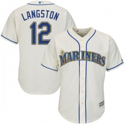Mark Langston Seattle Mariners Youth Authentic Majestic Cool Base Alternate Jersey - Cream