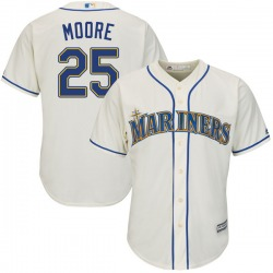 Dylan Moore Seattle Mariners Youth Authentic Majestic Cool Base Alternate Jersey - Cream