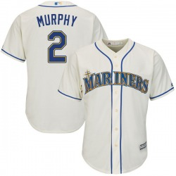 Tom Murphy Seattle Mariners Youth Authentic Majestic Cool Base Alternate Jersey - Cream