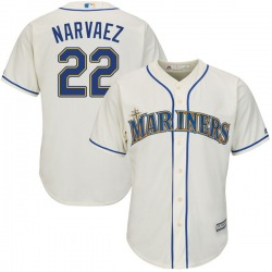 Omar Narvaez Seattle Mariners Youth Authentic Majestic Cool Base Alternate Jersey - Cream
