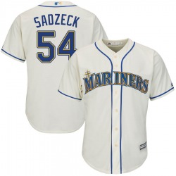 Connor Sadzeck Seattle Mariners Youth Authentic Majestic Cool Base Alternate Jersey - Cream