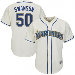 Erik Swanson Seattle Mariners Youth Authentic Majestic Cool Base Alternate Jersey - Cream
