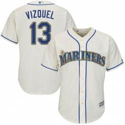 Omar Vizquel Seattle Mariners Youth Authentic Majestic Cool Base Alternate Jersey - Cream