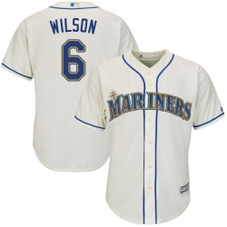 Dan Wilson Seattle Mariners Youth Authentic Majestic Cool Base Alternate Jersey - Cream